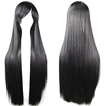 Outop Black Long Straight Anime Supia Yisol Cosplay Wigs 80cm