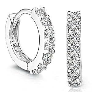 Amazon.com: Napoo Women Rhinestones Hoop Diamond Stud