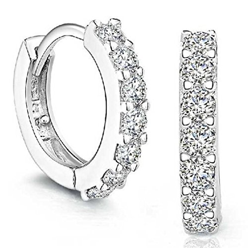 Napoo Clearance Women Rhinestones Hoop Diamond Stud Round Earrings -