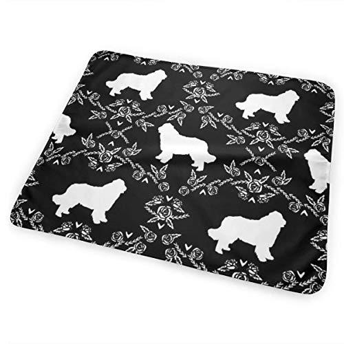 Newfoundland Floral Silhouette Dog Breed Fabric Black and White Baby Portable Reusable Changing Pad Mat 25.5 x 31.5
