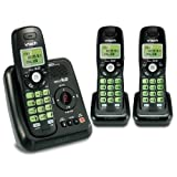 Vtech DECT 6.0 3 Cordless Phones with Caller ID, ITAD, Black - CS6124-31