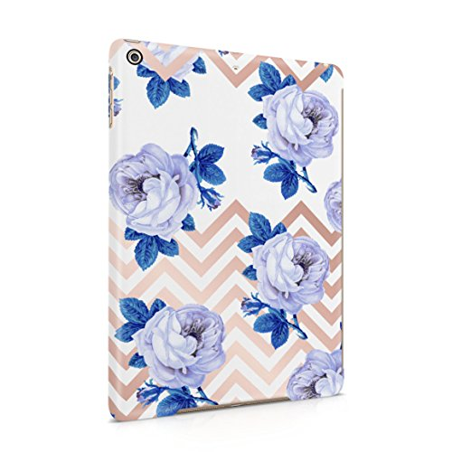 White Roses & Gold Chevron Hard Plastic Tablet Case For iPad Air 1