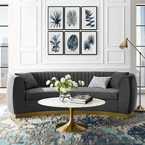 Best living room sofa: Modway Enthusiastic Channel Tufted Curved Back Performance Velvet