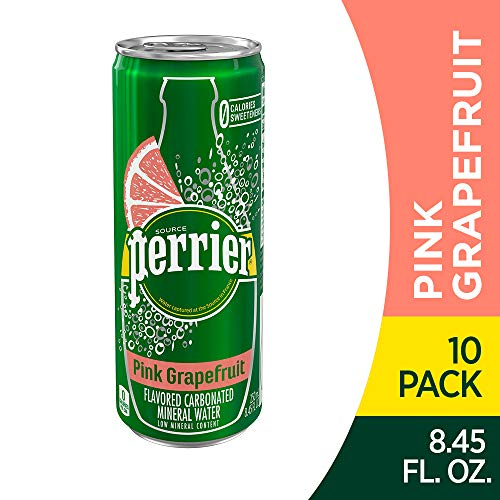 (Perrier Pink Grapefruit Flavored Carbonated Mineral Water, 8.45 fl oz. Slim Cans (10 Count))