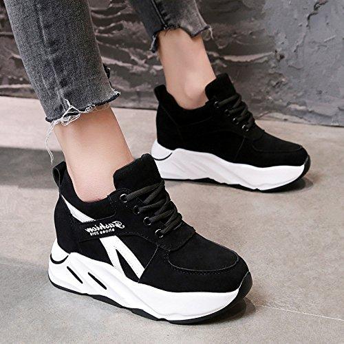 GAOLIM Bizcocho Con Gruesas Solo Zapatos Zapatos Bajos Zapatos De Cabeza Redonda De La Pletina Estudiante Zapatos Zapatos De Primavera Zapatos De Mujer Negro