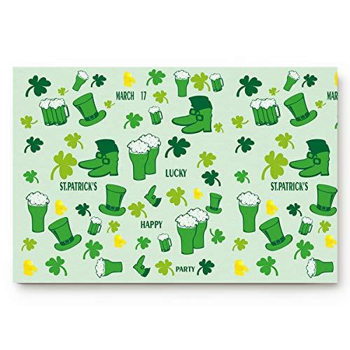OxOHome St. Patrick's Day Door Mats Cover Entrance Floor Mat 20x31.5inch Non-Slip Backing Rug Indoor Welcome Doormats Leprechaun Costume Greeting Shamrock Pattern -