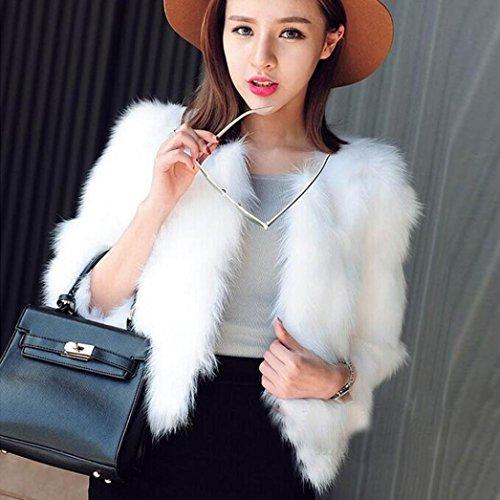 para KaloryWee Avestruz y Sintética Blanco Mujer Piel Suave Suave Piel de Abrigo Xmax de Esponjosa de Abrigo 6xrfSnX1x