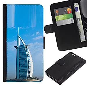JackGot ( Architettura Burj Dubai Arab hotel ) Apple (5.5 inches!!!) iPhone 6+ Plus / 6S+ Plus la tarjeta de Crédito Slots PU Funda de cuero Monedero caso cubierta de piel