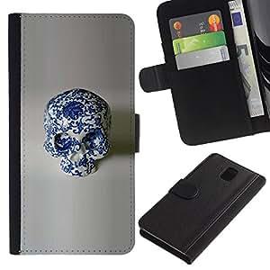 KingStore / Leather Etui en cuir / Samsung Galaxy Note 3 III / Diseño Porcelana Floral Blanco Cráneo