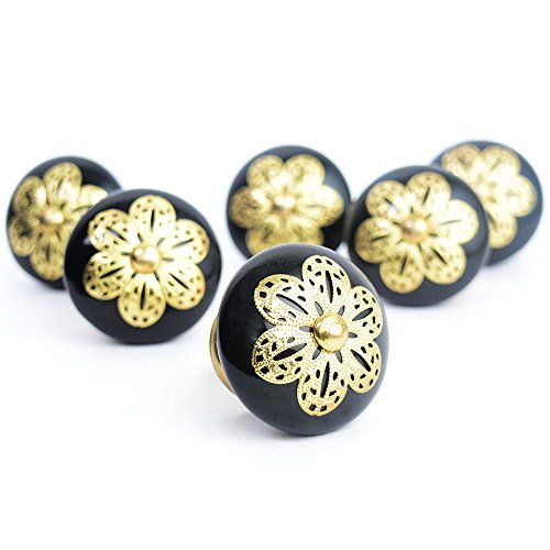 Pack of 6 Ornate Classic Black Ceramic Golden Filigree Kn...