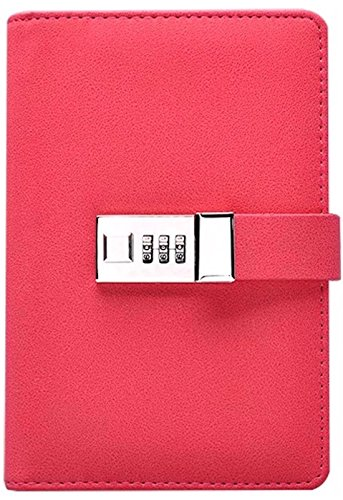 Binder Journal With Combination Lock (Binder Diary With Combination Lock), Size: 18.5cm X 13.5cm. PU Leather Multi Color Combination Lock Journal (Combination Lock Diary) Pink