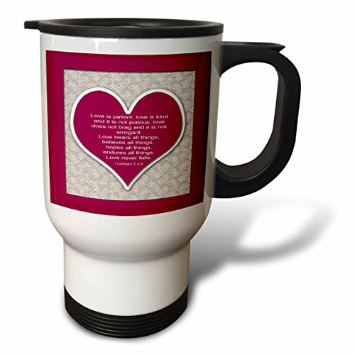 777images Designs Christian – Red heart and bible verse on love on a lace background. – 14oz Stainless Steel Travel Mug (tm_178769_1)