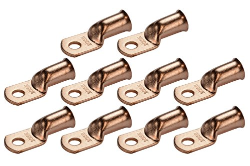 temco-10-lot-2-0-awg-ring-5-16-hole-terminal-lug-bare-copper-uninsulated-gauge