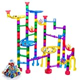 Gifts2U Marble Run Sets Kids, 122 PCS Marble Race Track Game 90 Translucent Marbulous Pieces + 32 Glass Marbles, STEM Marble Maze Building Blocks Kids 4+ Year Old