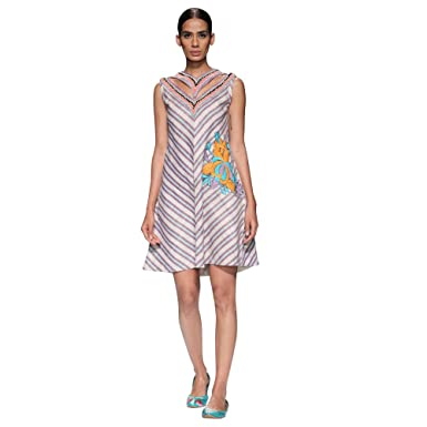 5ef30120ea853 Handwoven Jharkhand Woven designer Tassar Silk Dress by Rina Dhaka ...