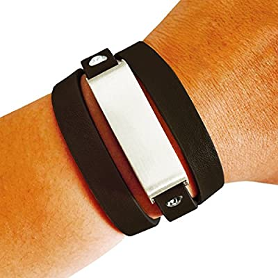 Fitbit Bracelet for FitBit Flex Fitness Trackers - The KATE Brushed Metal and Premium Vegan Leather Buckle Fitbit Bracelet