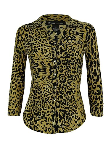 INC International Concepts Petite Ruched Button-Down Animal-Print Blouse PET/PET