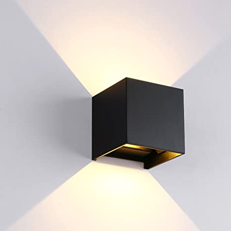 Nclon Led 7w Water Resistant Inside Wall Sconces Wall Light Square Aluminum Up Down Lighting Simple Wall Lamp Lampshade Sconce Included Light Source Black Warm Light Amazon Com
