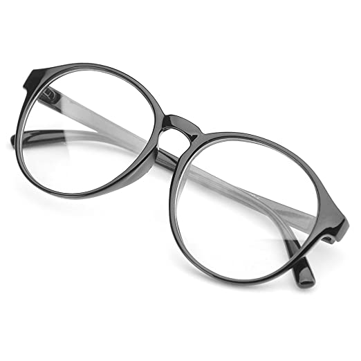 e5d4279e04c4 PenSee Oversized Circle Eyeglasses Frame Inspired Horned Rim Clear Lens  Glasses (Black)