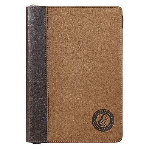 Around Closure - Journal With Zipper Closure - Strong and Courageous, Brown