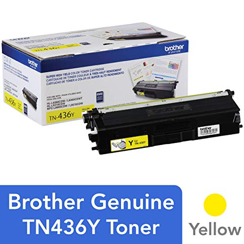 Brother Genuine Super High Yield Toner Cartridge, TN436Y, Replacement Yellow Toner, Page Yield Up To 6,500 Pages, Amazon Dash Replenishment Cartridge, TN436