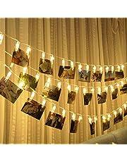 40 x led-lichtsnoer, batterij, USB-timer, voor binnen en buiten, met afstandsbediening, klemmen voor foto's, kamerdecoratie, verjaardag, waterdicht