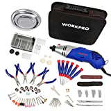 WORKPRO 152-piece Multi-function Rotary Tool Kit Variable Speed with Universal Fitment Accessories and Precision Pliers and Screwdrivers Set for Around Home and DIY Projects