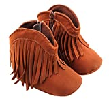 Babies Kids Dollar Shoes Best Deals - FEITONG Toddler Infant Baby Girls' Shoes Soft Sole Boots Prewalker Tassel (Age:12~18 Month, Brown)