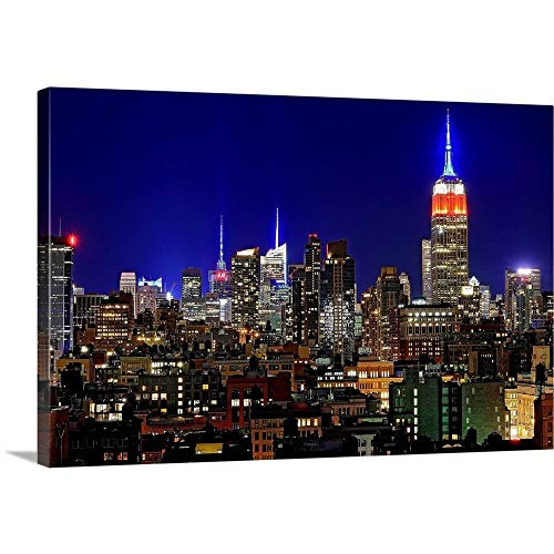 Empire State Building and Manhattan at Night Canvas Wall Art Print, 48'x32'x1.25'