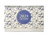 Desk Calendar 2018-2019, Runs from October 2018 to December 2019, Twin-Wire Binding, Desktop Calendar Monthly Planner Daily Calendar Planner for School, Office, Home Use - Blue Flower Patter