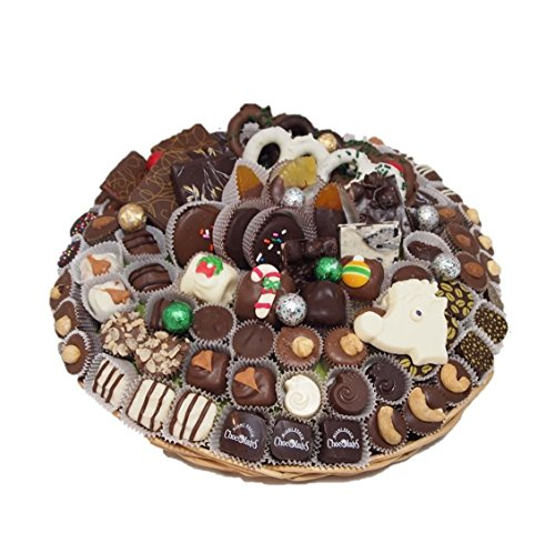 Miami Beach Chocolates Gourmet Hand-Crafted Chocolates Oval Holiday Gift Basket Kosher Parve Vegan or Dairy, Made To Order (Christmas Gift Baskets To Order)