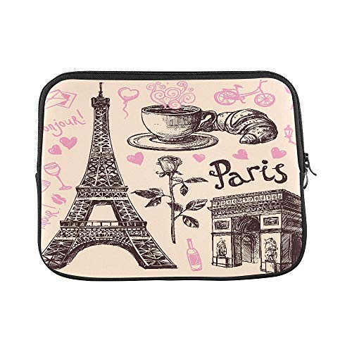 "Price comparison product image Design Custom Paris Eiffel Tower and Bakery Hand Drawing Symbol Sleeve Soft Laptop Case Bag Pouch Skin for MacBook Air 11""(2 Sides)"