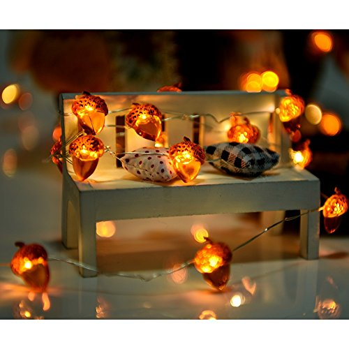 NuoYo Christmas Decorative Acorn String Lights, LED String Light 10ft Copper Wire 40 LEDs with Remote&Timer Indoor Outdoor Battery Operated Lights for Christmas,Camping Wedding, Birthday Parties (Christmas Acorn Tree)