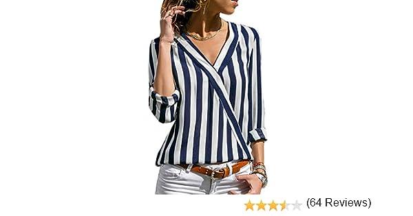 Lover-Beauty Camisa Mujer Raya Cuello Redondo Manga Larga Casual Suelto  Blusa Rojo y Top Azul Jersey Stripe Shirt Otoño Verano Playa y Fiesta   Amazon.es  ... fd02bae63032b