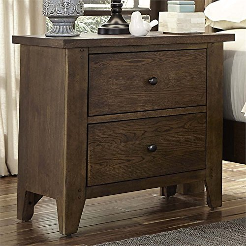 Liberty Furniture Hearthstone Bedroom 2-Drawer Night Stand, Rustic Oak Finish
