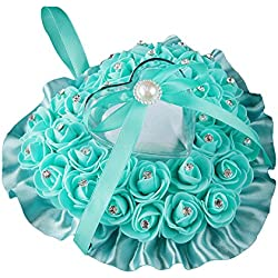 Colorido Rose Flower Heart Shaped Rhinestone Satin Bowknot Ring Box Pillow Wedding (Teal Blue)