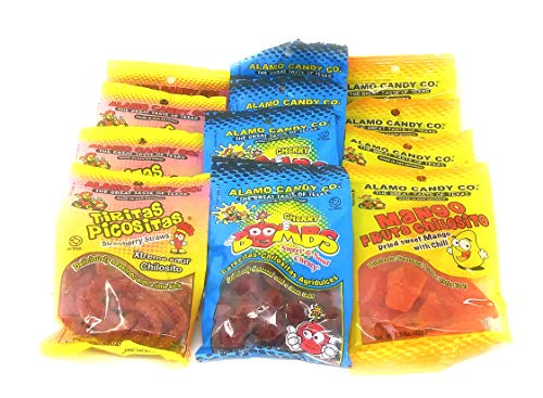 Alamo Candy Company Variety Pack - Mexican Inspired Candy - Cherry Bombs, Strawberry Sour Straws, Chili Mangoes - 4 of Each - Made in Texas - Great Gift Pack - -