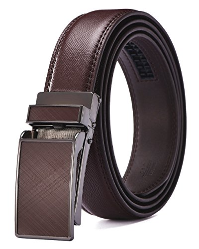 "Xholding Men's Automatic Buckle Ratchet Leather Dress Belt 30mm Wide 1 1/8"""