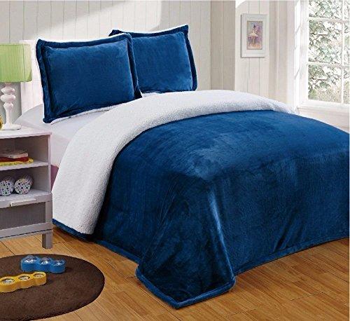 icromink Sherpa Reversible Throw Blanket (Twin, Navy) (Velvety Soft Plush)