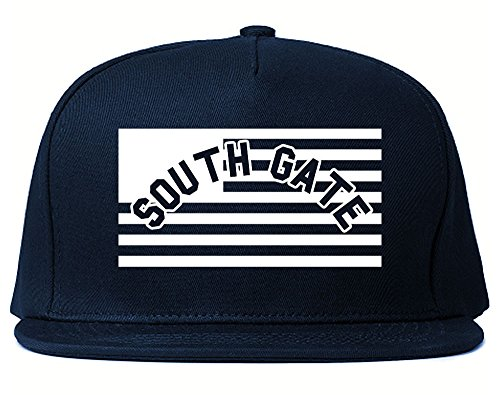 City Of South Gate with United States Flag Snapback Hat Cap Navy Blue (South Gate City)