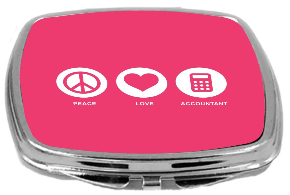 Rikki Knight Peace Love Accountant Design Compact Mirror, Tropical Pink, 2 Ounce