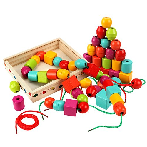Lewo Lacing Beads for Kids Toddler Toy Wooden Jumbo Primary Lacing Toys for Toddlers Autism Fine Motor Skills Montessori Toys 30 Pcs with 2 Laces ()
