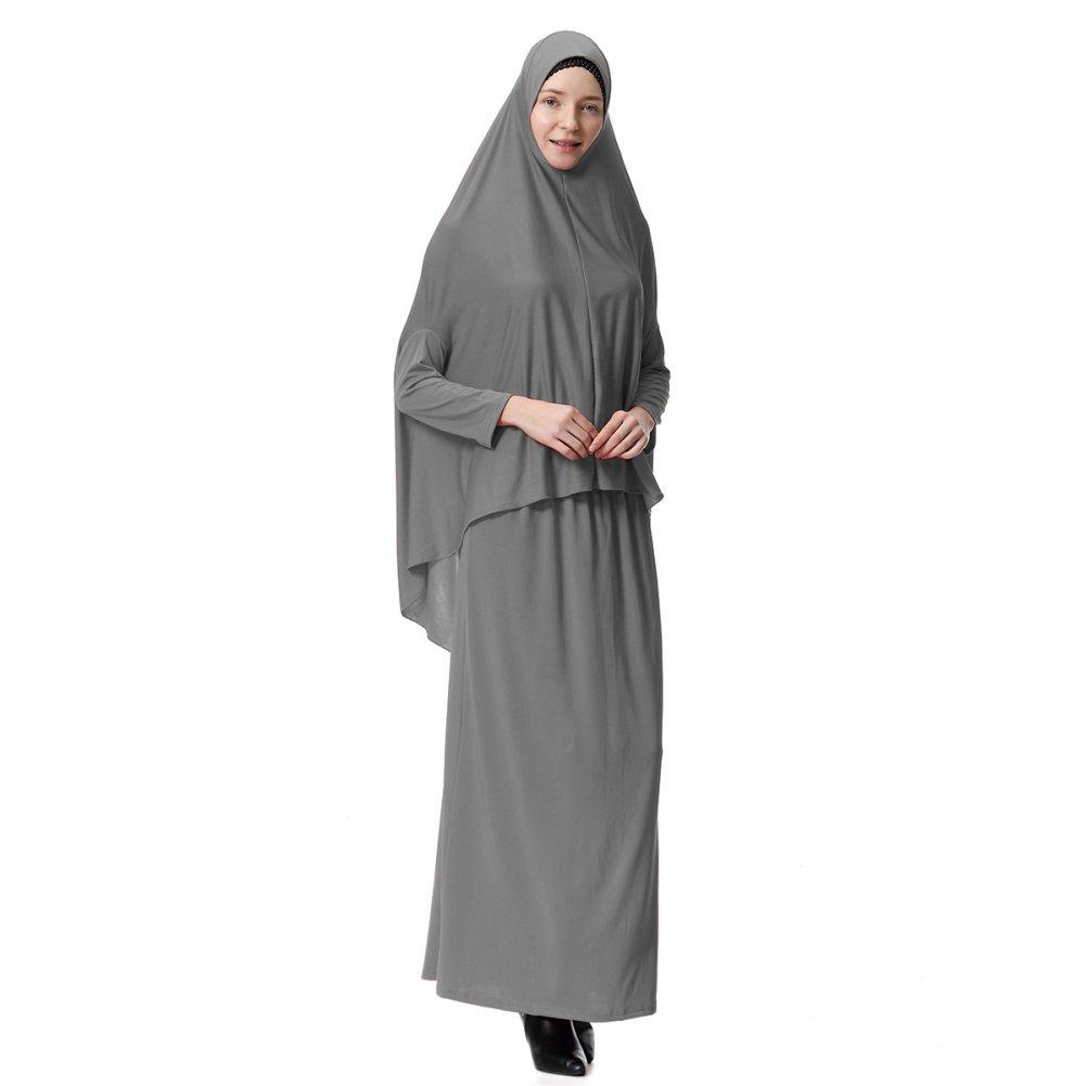 Zhengpin Muslim Dresses for Women Batwing Maxi Hijab Abaya Prayer Dress Robe