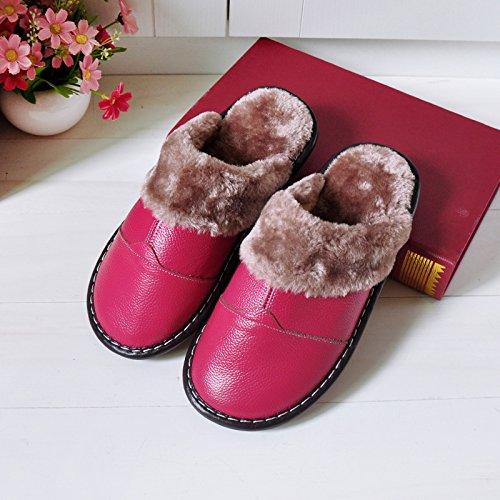 CWAIXXZZ pantofole morbide Soggiorno invernale caldo cotone pantofole carni bovine tendine fondo morbido, pavimento antiscivolo Pantofola in cuoio cuoio interno uomini e donne trascinare e ,25#(35-36