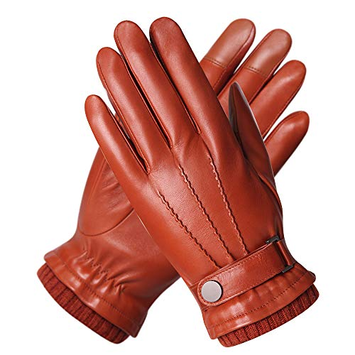 Men's Texting Touchscreen Winter Warm Nappa Leather Daily Dress Driving Gloves Wool/Cashmere Blend Cuff (9, Saddle Brown (Fleece Lining)) (Best Winter Dress Gloves)