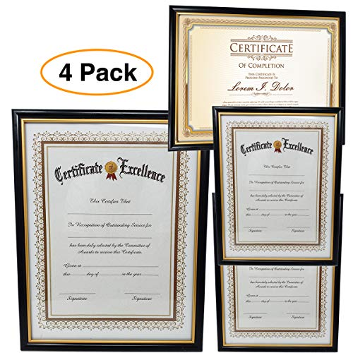 "Pro Image Document Certificate Picture Frame |Plastic Frame Glass Cover | Ideal framing Awards Diplomas 8.5"" x 11"" (4 Pack)"