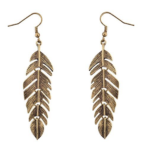 Gold Tone Leaf Clip - Lux Accessories Burnished Goldtone Metal Leaf Tree Of Life Dangle Earrings