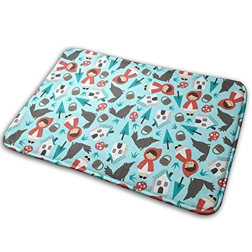 LNUO-2 Indoor Outdoor Door Mat Red Riding Hood Blue Rug Floor Mats for Pets, Easy Clean