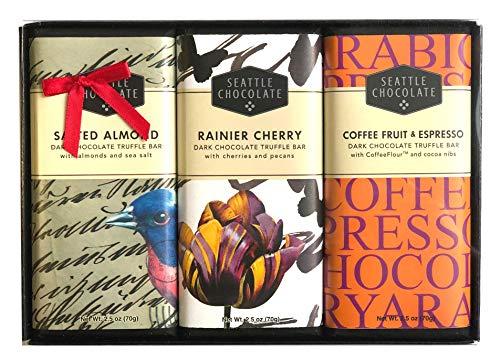 Gourmet Truffle Box (Seattle Chocolates, Assorted Dark Chocolate Truffle Bars Bundle Gift Set, 7.5 Ounce (Set of 3))