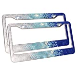 Product review for Carfond 7 Row Pure Handmade Bling Bling Rhinestones Stainless Steel Metal Car License Plate Frame Bonus Matching Screws Caps (white/skyblue/blue)- 2 PACK